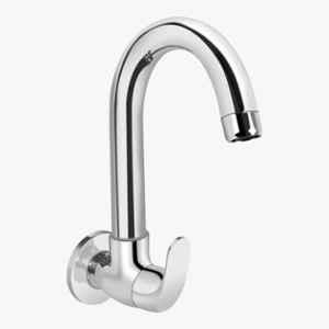 Kerovit Edge Silver Chrome Finish Wall Mounted Sink Cock with Swivel Spout & Flange, KB1211025