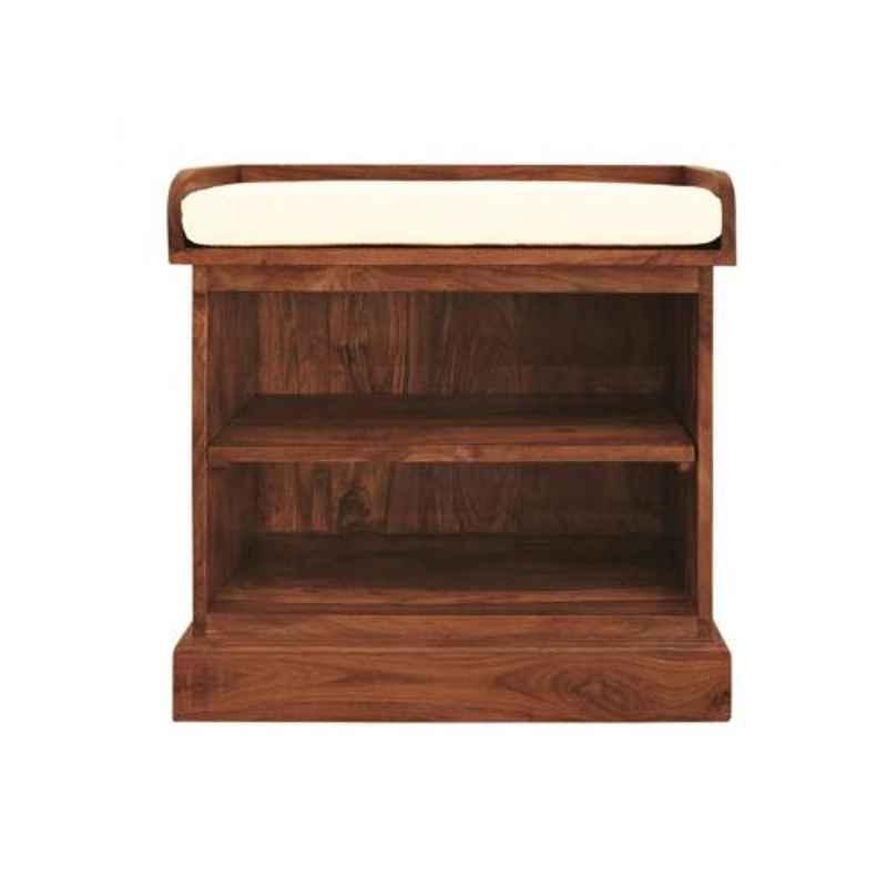 Angel Furniture 60x35x60cm Honey Finish Sheesham Wood Shoe Rack with removable shelf, AF-138H