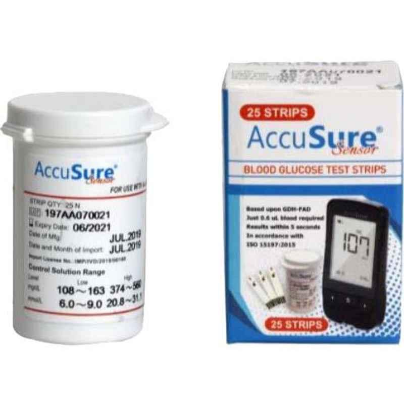 AccuSure Sensor Glucometer 25 Pcs Test Strips