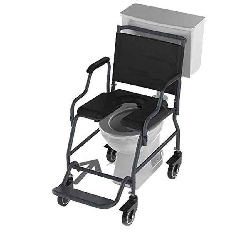 Frido 2000 41.1x21.9x37.2 inch Black Heavy Duty Removable Armrest Rollover Commode Wheelchair, MAC101