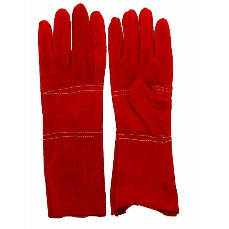 Safies 14 Inch Leather Red Welding Gloves (Pack of 6)