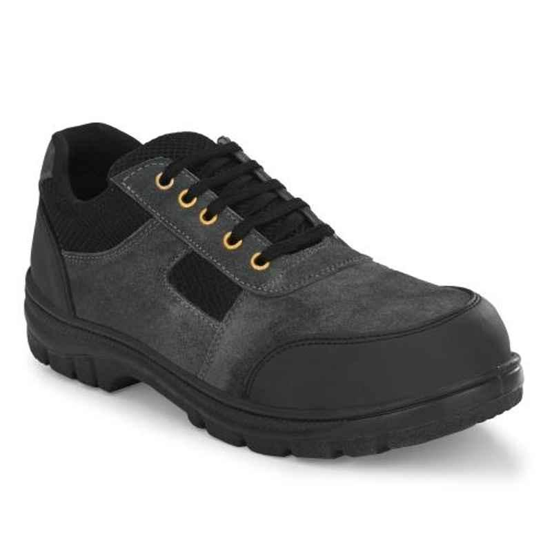 Kavacha S117 Suede Leather Grey Steel Toe Safety Shoes, Size:  10