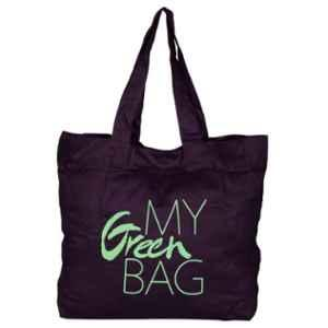 RUR Greenlife Cotton Reusable Purple Shopping Bag with Velcro Closure