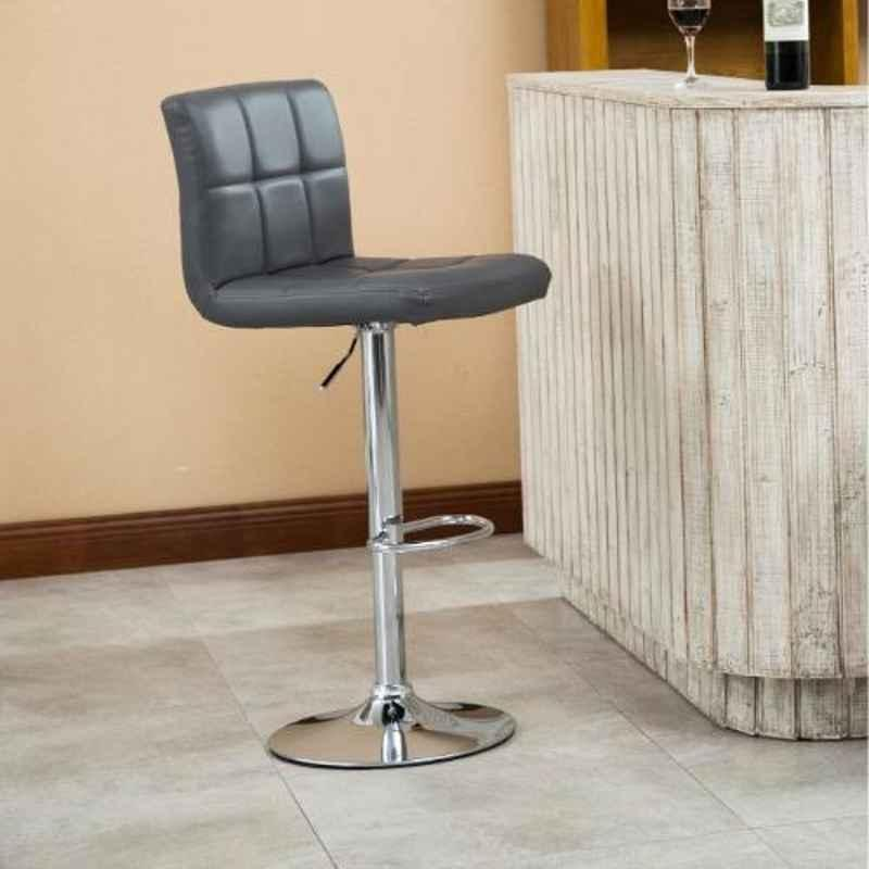 Steelcraft KBSTGR02 Grey Leatherette Upholstery Seat Bar Stool
