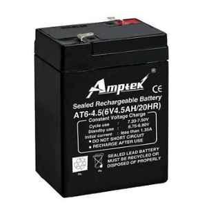 Amptek 6V 4.5Ah Black Sealed Rechargeable SLA Industrial Battery