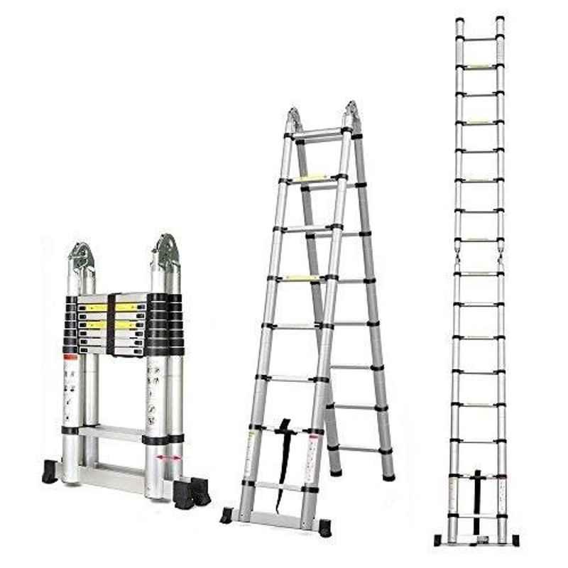 Bigapple 150kg 2x8 Step 2.5+2.5m Telescopic Aluminium Folding Step Ladder, BA-A250