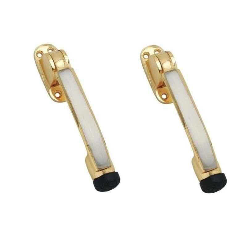 Smart Shophar 5 inch Brass Gold Silver Meldal Door Stopper, SHA10ST-MELD-GS05-P2 (Pack of 2)