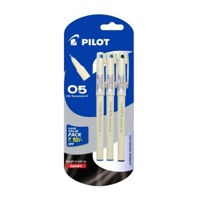 Pilot 05 Hi-Techpoint 2 Blue & 1 Black Roller Ball Pen Set