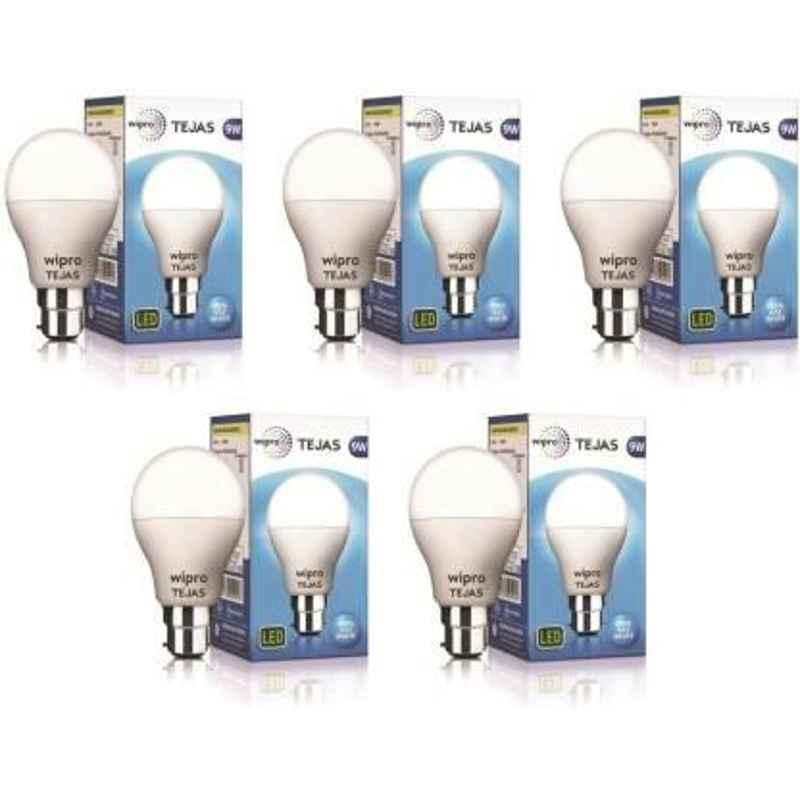 Wipro Tejas 9W Cool Day White Standard B22 LED Bulb, N95001 (Pack of 5)