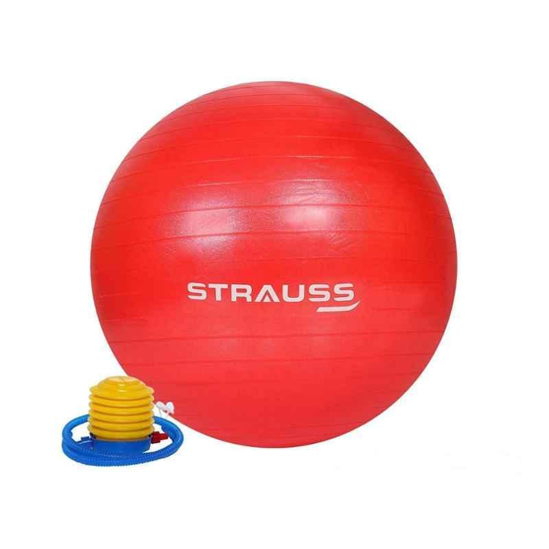 Strauss 55cm Red PVC Anti Burst Gym Ball with Foot Pump, ST-1481