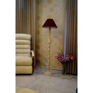 Tucasa White Mango Wood Floor Lamp with Maroon Conical Polycotton Shade, WF-144