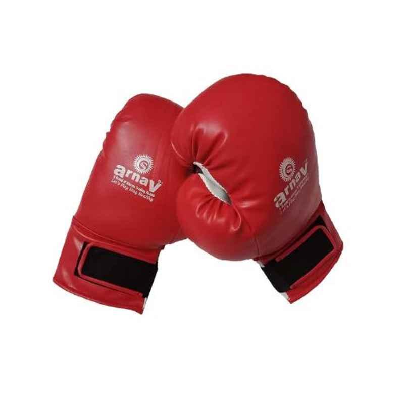 Arnav 16 Red & White Cotton Filled PVC Boxing Gloves