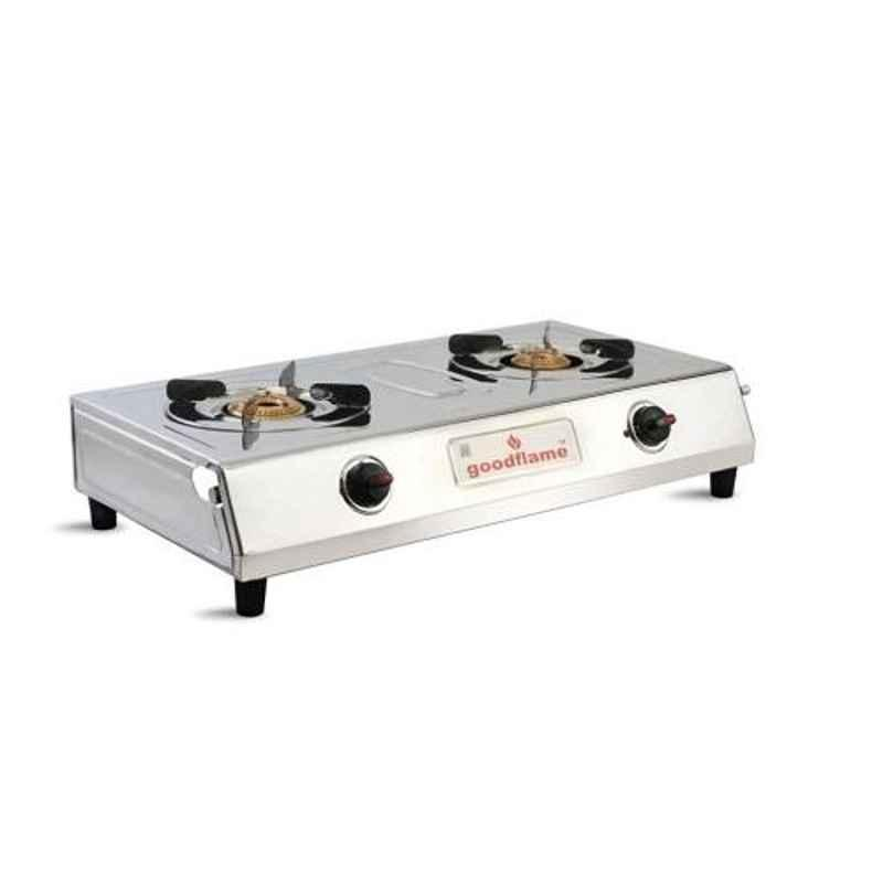 Good Flame VS-2 Manual Ignition 2 Burners Silver Gas Stove with Brass Burner, GF002
