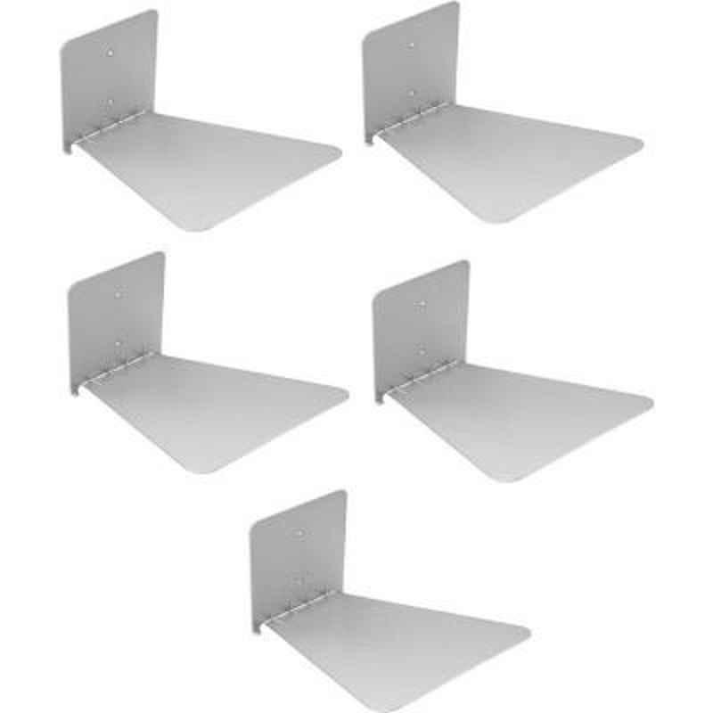 Home Store Solid Set of Five Invisible Room Decorative Bookcase Holder (Finish Colour - Silver)