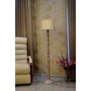 Tucasa Classic White Mango Wood Floor Lamp with Off White Drum Polycotton Shade, WF-77