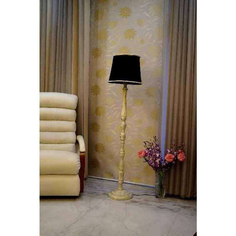 Tucasa White Mango Wood Floor Lamp with Black Polycotton Shade, WF-143