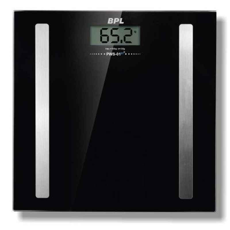 BPL PWS-01 180kg Black Bluetooth Enabled Weighing Machine, 91MED158BT