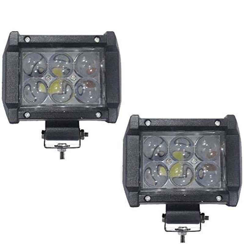AllExtreme EX6OL2P 2 Pcs 6 LED 4 inch 18W Osram White CREE High Beam Lens Waterproof Fog Light Bar Set