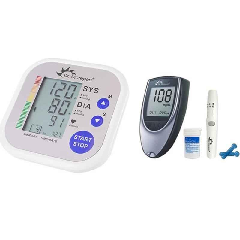 Dr. Morepen BP-09 Blood Pressure Monitor & BG-03 Gluco One Monitor Kit with 25 Test Strips Combo
