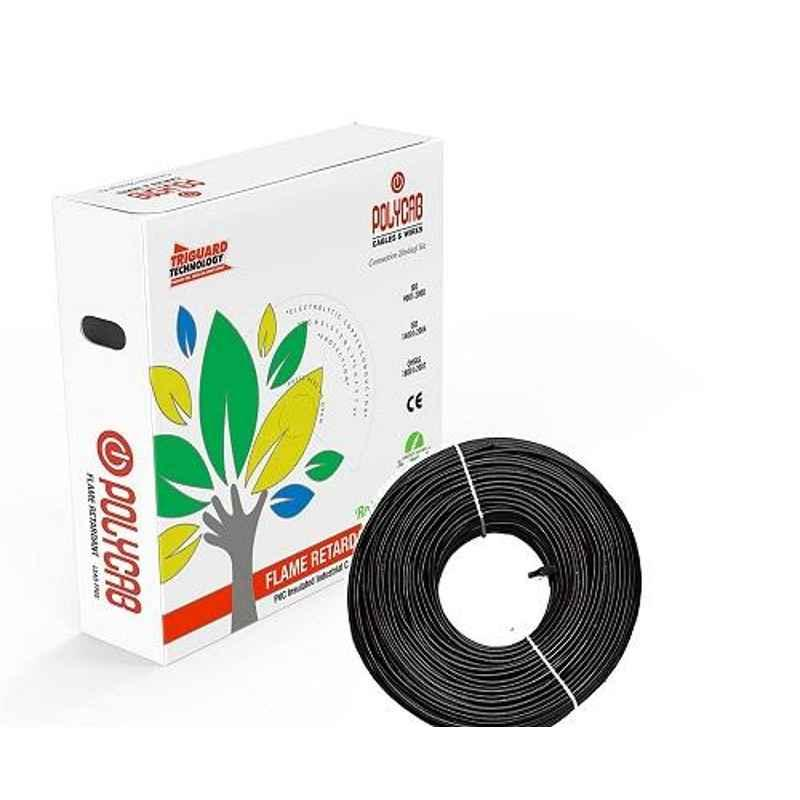 Polycab 6 Sqmm 90m Black Single Core FRLF Multistrand PVC Insulated Unsheathed Industrial Cable