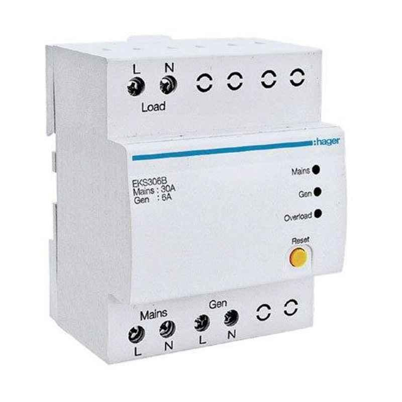 Hager 20A 1P+N Pole Automatic Changeover & Current Limiter, EKT620TG