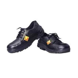 Leather Craft Hummer Steel Toe Black Safety Shoes, Size: 8