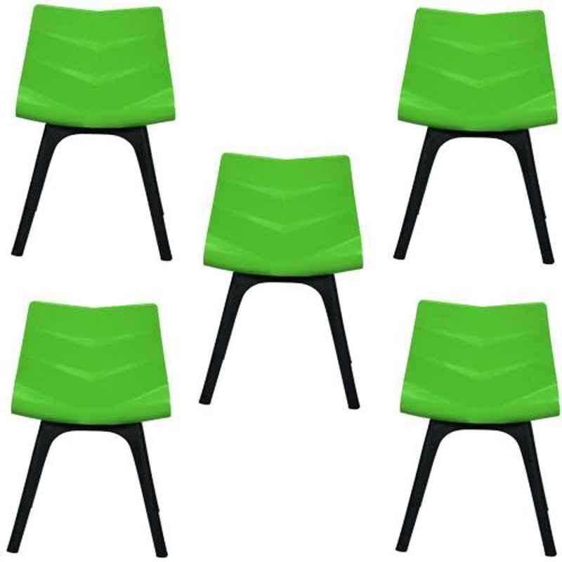 Regent Diamond Shell Plastic Black & Green Chair (Pack of 5)