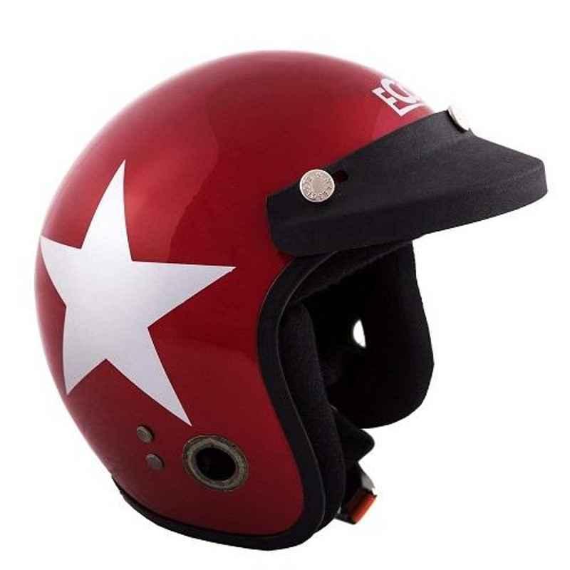 Habsolite HB-ESWM Ecco Star Open Face Wine Red & Grey Helmet With Detachable Cap & Adjustable Strap, Size: Medium