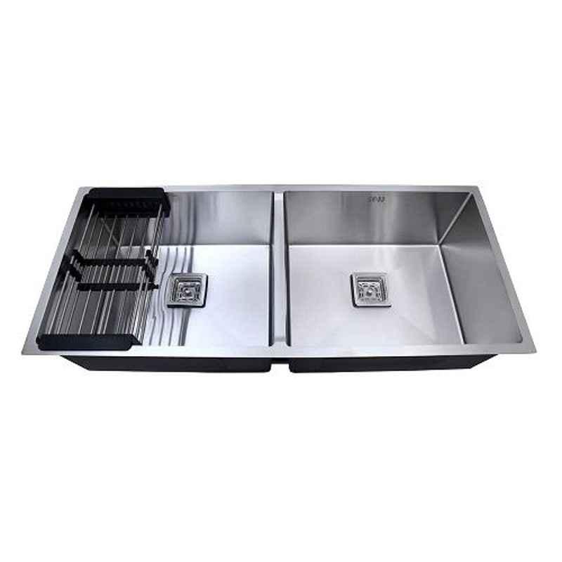 Crocodile 45x20x10 inch Double Bowl Stainless Steel Diamond Cut Kitchen Sink, CR-07