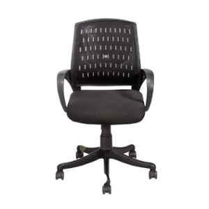 Da Urban Bossin Black Fabric, Mesh, Foam & Plastic Medium Back Office Revolving Chair with Arms (Pack of 2)