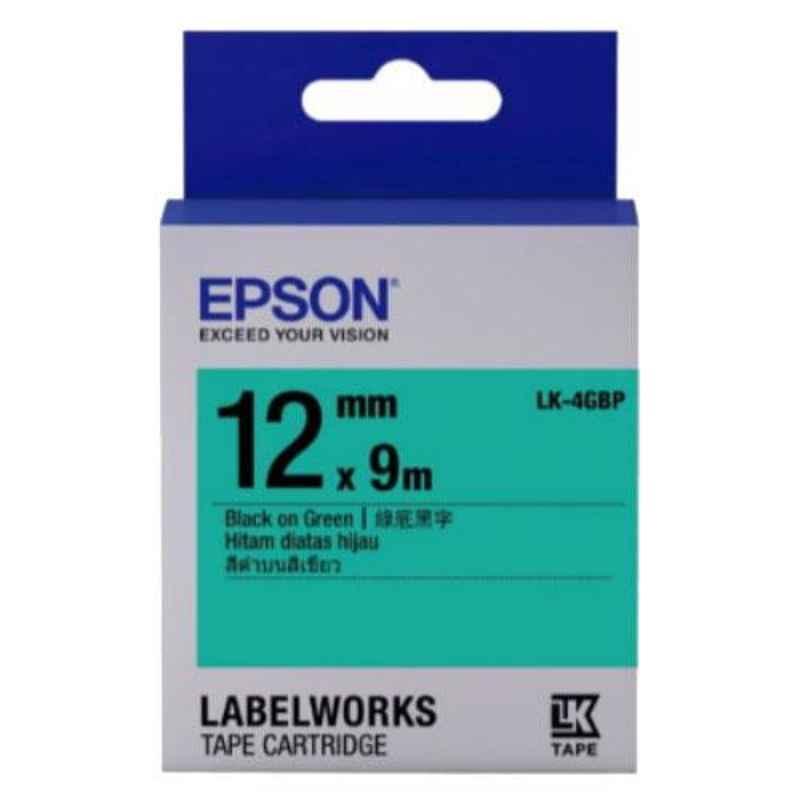 Epson LK-4GBP Black on Green Label Tape