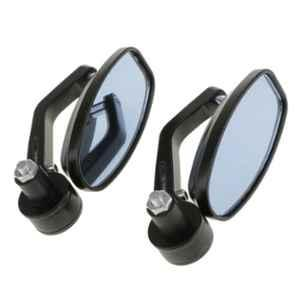 Love4ride 2 Pcs Universal Oval Rear View Mirror for Bike Set with Double Control Switch Button