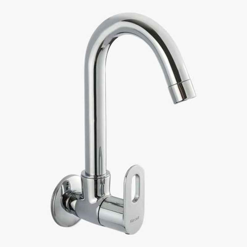 Kerovit Trendy Silver Chrome Finish Wall Mounted Sink Cock with Swivel Spout & Flange, KB2111025
