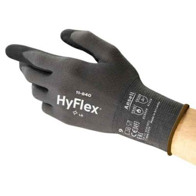 Ansell HyFlex Black & Grey Foam Nitrile & Nylon Industrial Hand Gloves, Size: 9, 11-840 (Pack of 12)