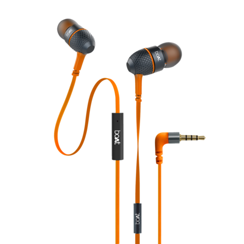 boAt Bassheads 228 Orange Wired Headset with Mic