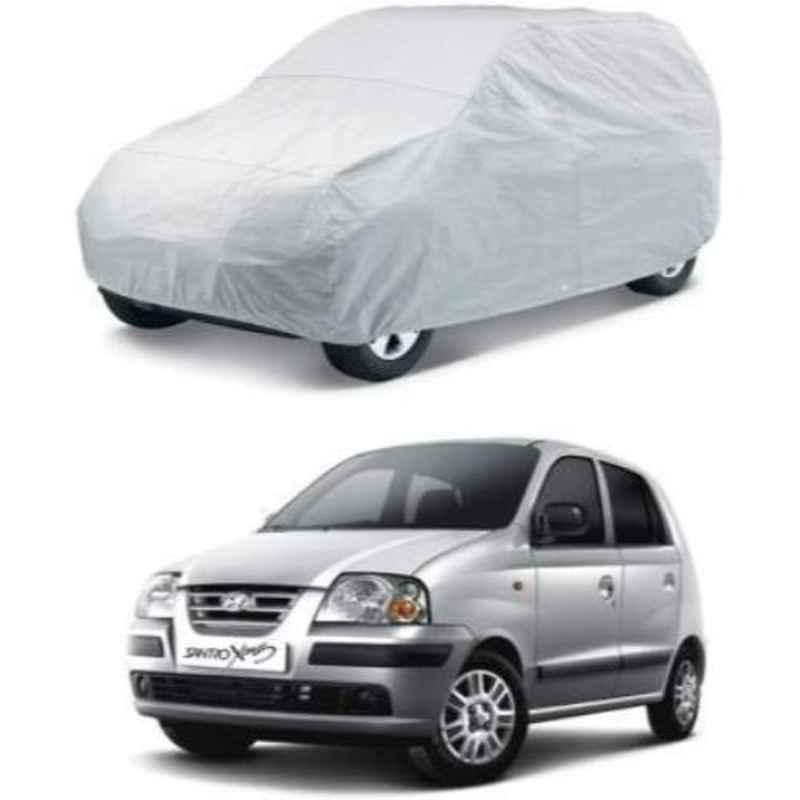 Uncle Paddy Silver Car Cover for Hyundai Santro Xing