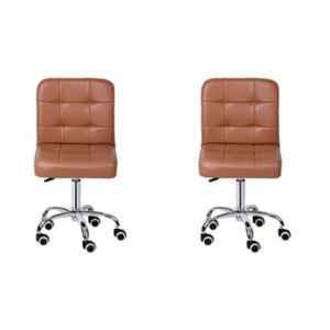 Da Urban Bion Beige Fabric & Foam Stool Chair with Wheels & Low Back (Pack of 2)