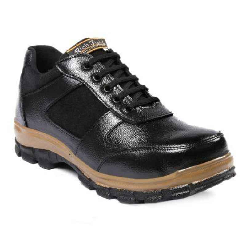 Rich Field SGS1132BLK Leather Low Ankle Steel Toe Black Safety Shoes, Size: 10