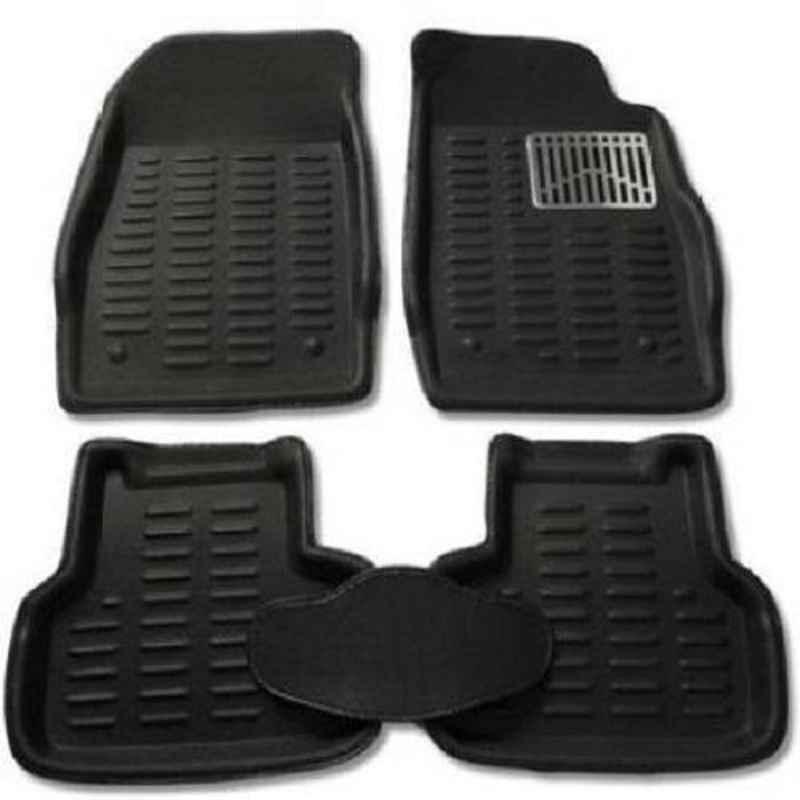 Love4ride 4 Pcs 3D Black Car Floor Mat Set for Tata Indica Vista