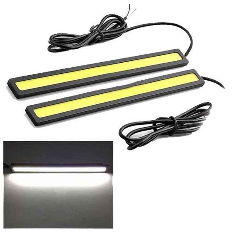 AllExtreme EX6WDRL 2 Pcs 12V 6W Ultra Bright IP67 DRL Slim Chip COB Waterproof LED Light Set