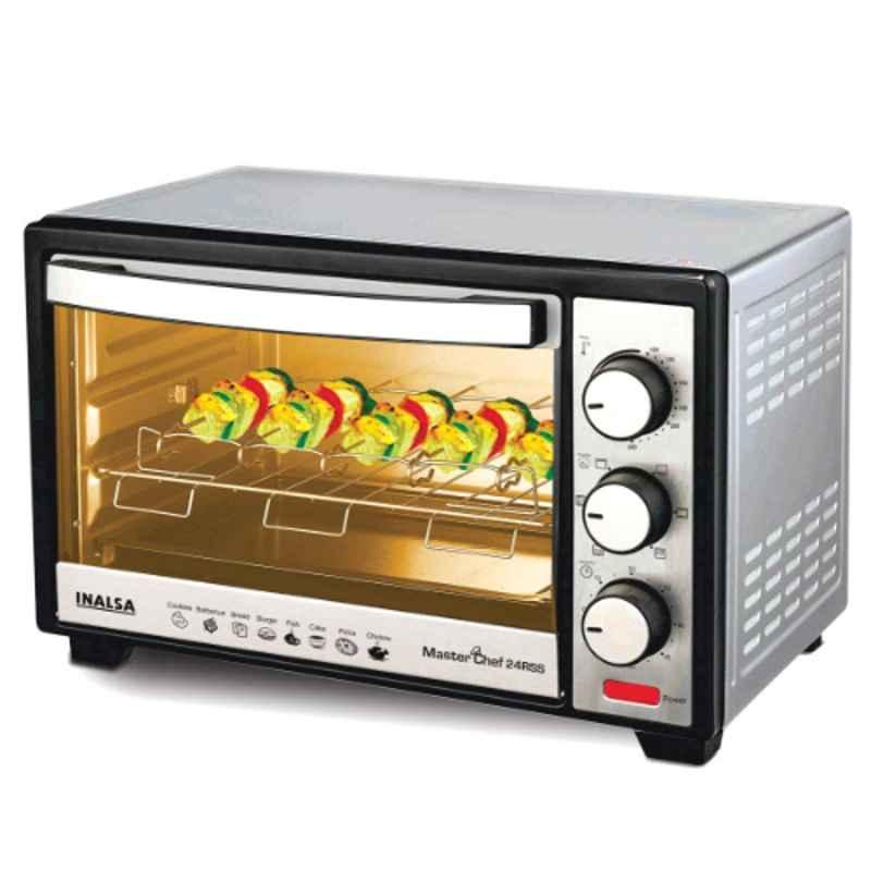 Inalsa MasterChef 24RSS 1600W 24L Black & Silver Oven Toaster Griller