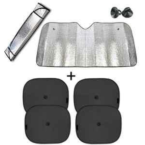 Viva City 5 Pcs Black & Silver Cotton & Aluminium Foil Foldable Car Windshield & Windows Sunshades