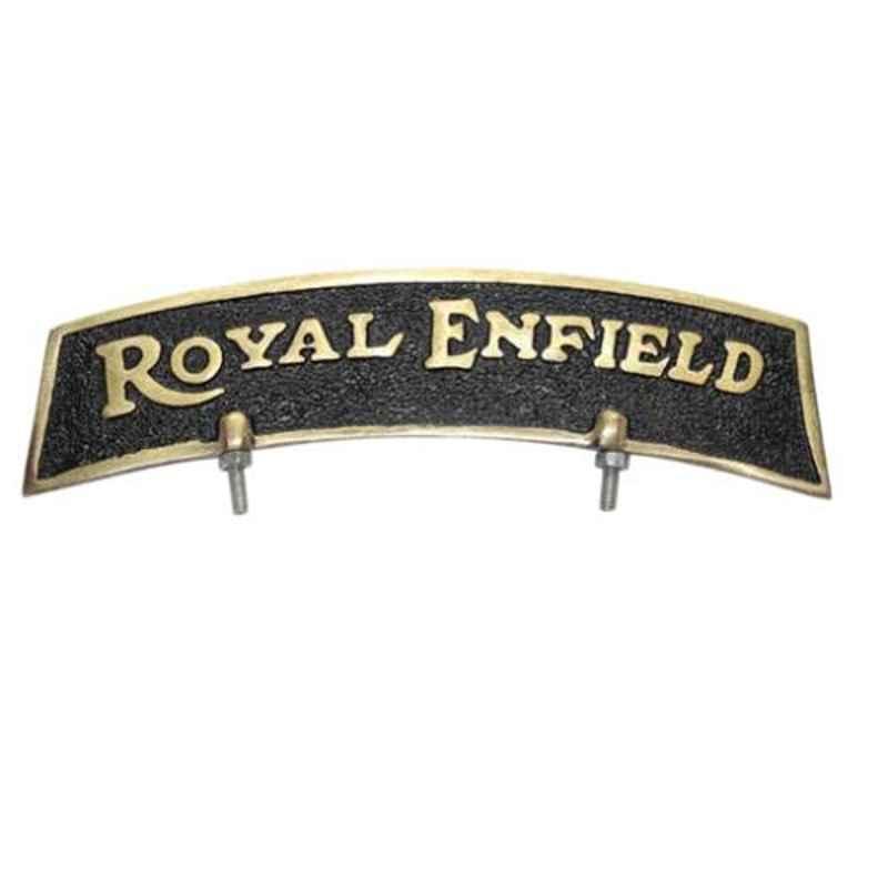 AllExtreme EXBFGB1 Golden & Black Brass Front Fender Royal Enfield Plate