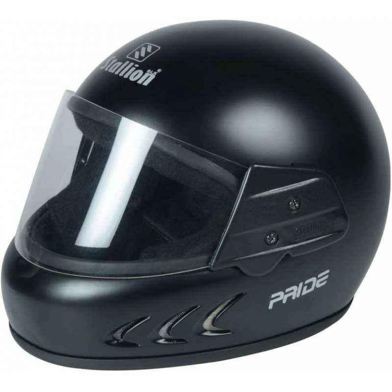 Stallion BLK Pride Plus Full Face Matte Black Motorbike Helmet, Size: M