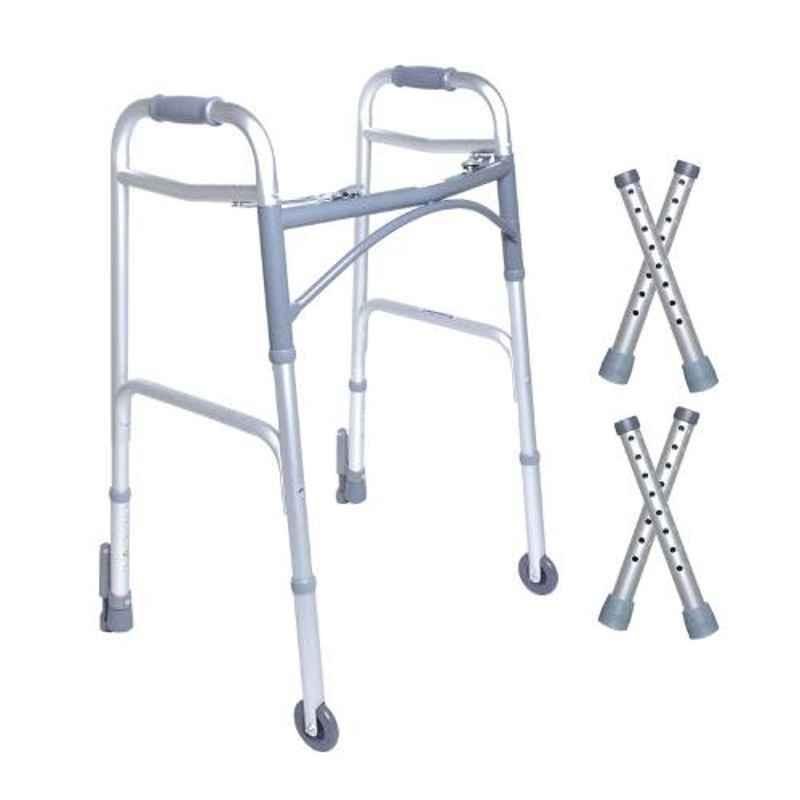 KosmoCare 30.5 37.5 inch Deluxe Folding Walker with Auto Glide Brakes, RX214WB