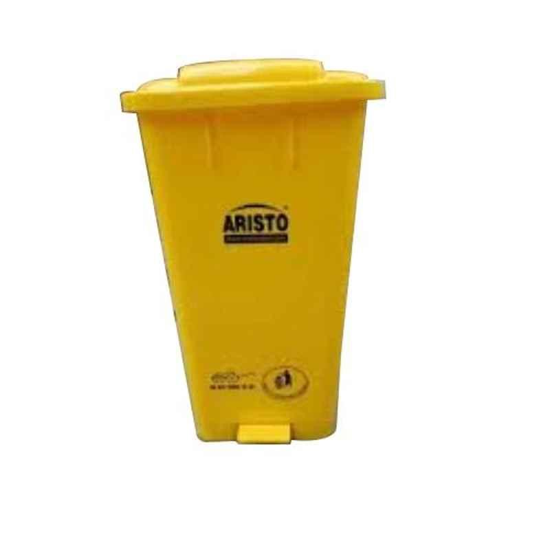 Aristo 65L 456x405x720mm HDPE Yellow Center Foot Pedal Dustbin with 2 Wheels (Pack of 2)