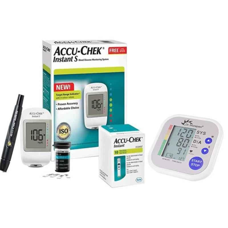 Dr. Morepen BP-02 Blood Pressure Monitor & Accu-Chek Instant S Meter Glucometer