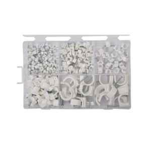 GSK Cut 250 Pcs White Assorted Circle Cable Clips Set