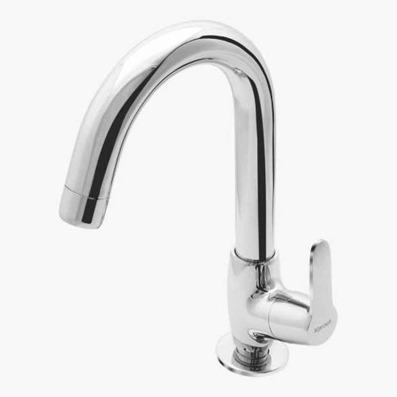 Kerovit Joy Silver Chrome Finish Deck Mounted Sink Cock with Swivel Spout, KB1511028