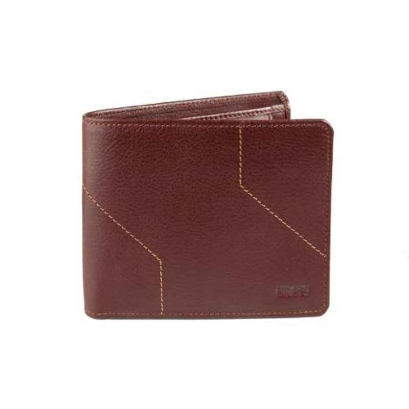 Elan Classic 11x2.5x9cm 5 Slot Brown Leather Bifold Coin Pouch Wallet, ECW-9602-BR
